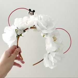 White Floral Disney Mouse Ears